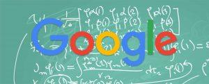Google logo on top of math calculations